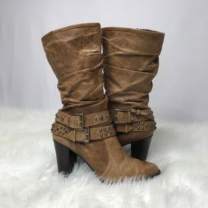 a.n.a.-Distressed Slouch Boots-Leather upper-Sz 8